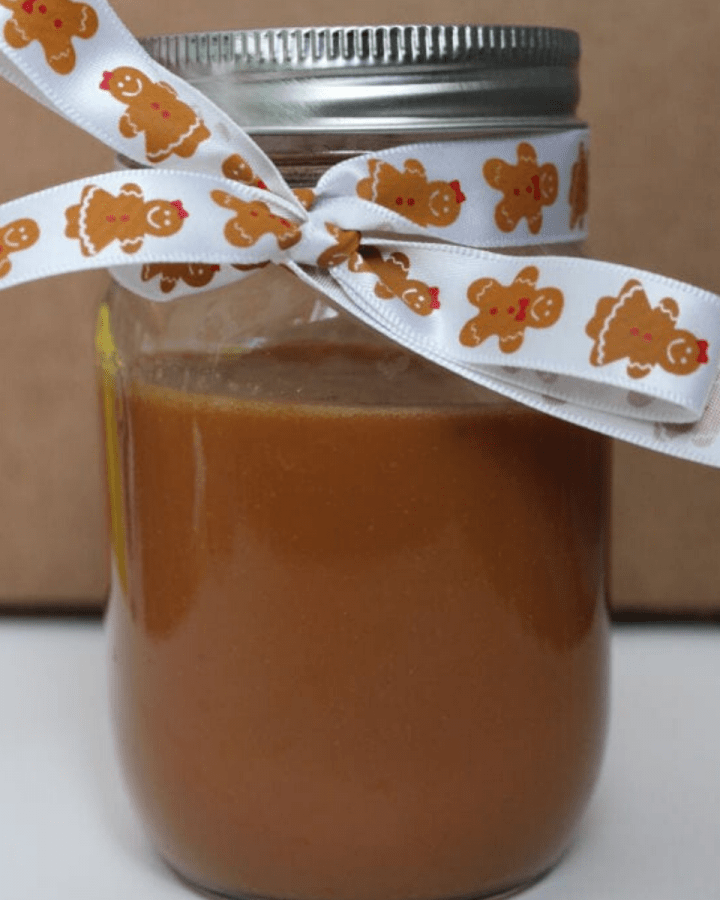 A jar of caramel sauce.