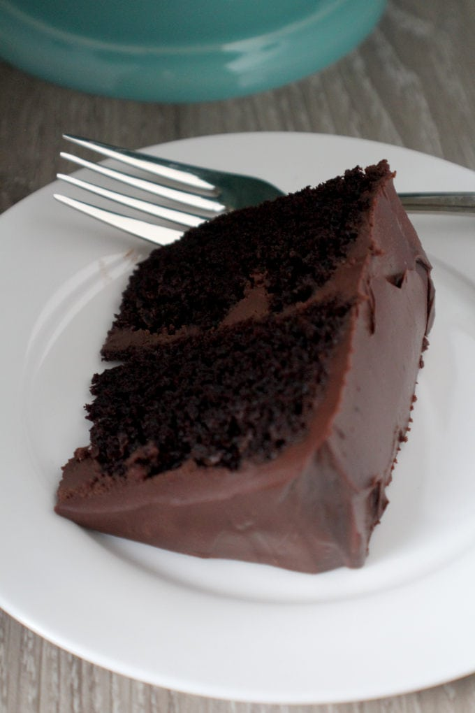 Ultimate Chocolate Cake - This is a dark chocolate cake with a light crumb and is covered with a rich chocolate ganache.