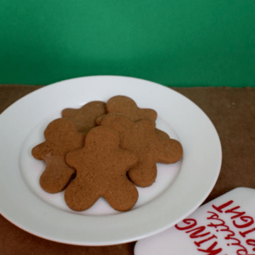 Gingerbread cookies on a white plate.