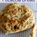 Focaccia Bread on a wire rack.