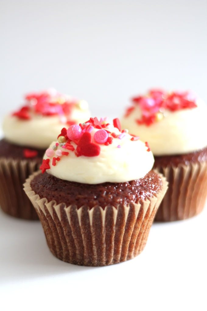 Red Velvet Cupcakes with Cream Cheese Icing | Nina Kneads to Bake