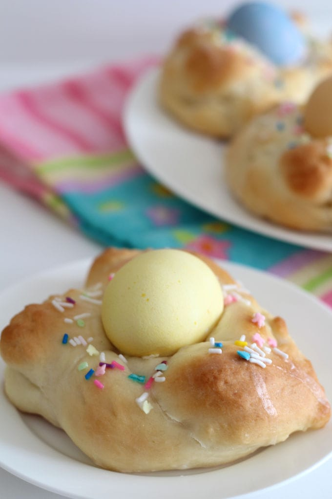 Italian Easter Bread on a white plate