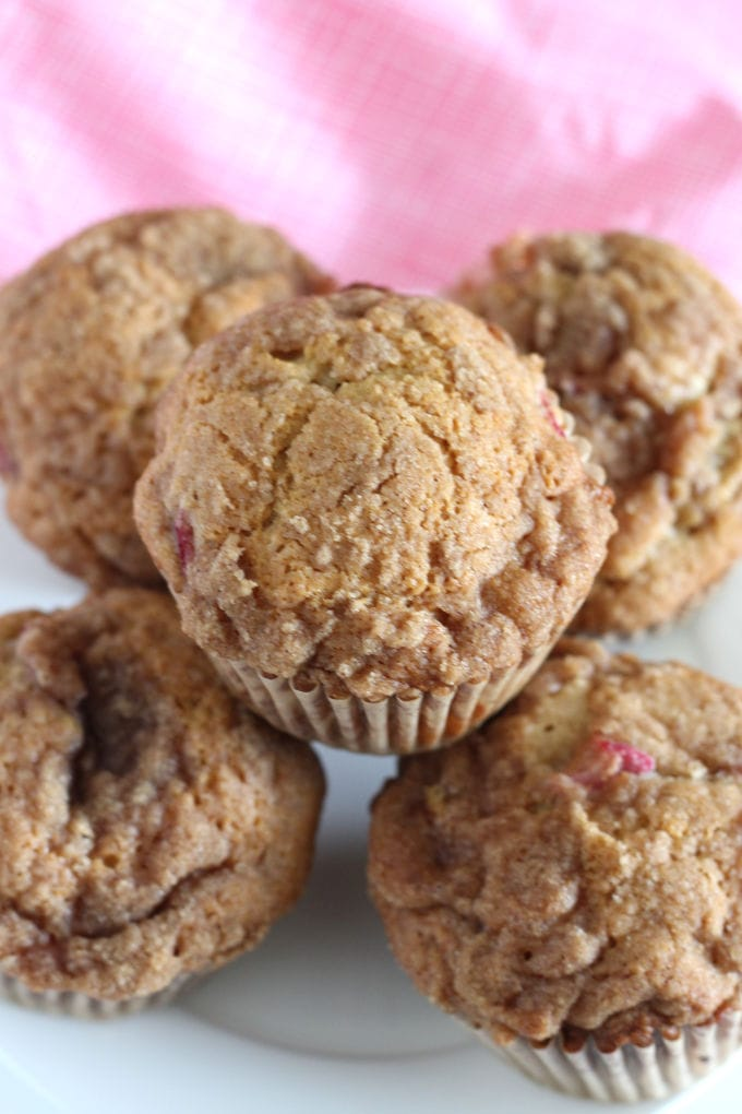 A plate of rhubarb muffins.