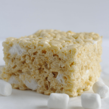 A Rice Krispie square surrounded by marshmallows.