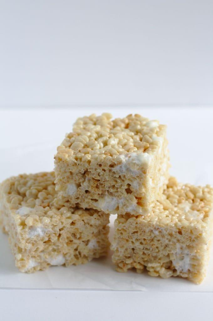 Three rice krispie squares.
