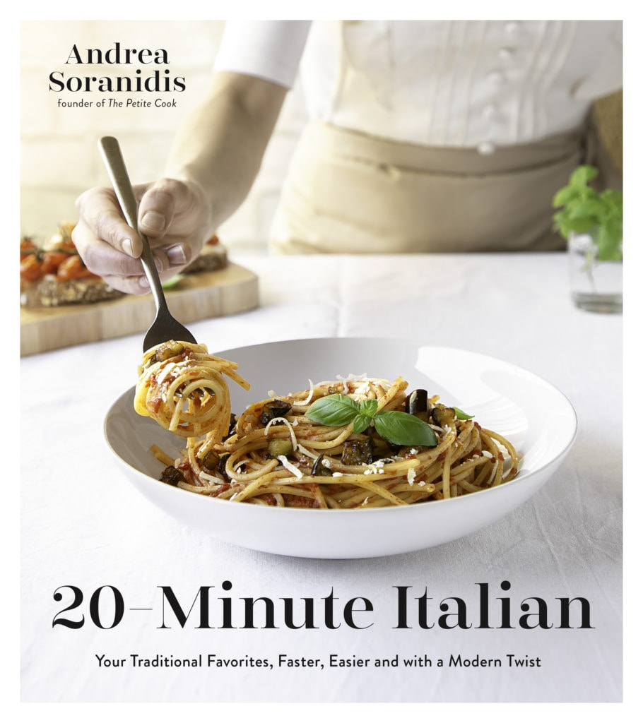 A picture of the front cover of the 20-Minute Italian cookbook.