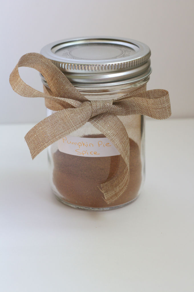 A mason jar filled with pumpkin pie spice.