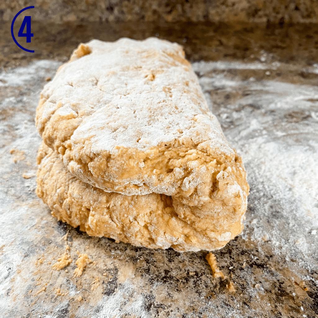 Scone dough on a floured surface.