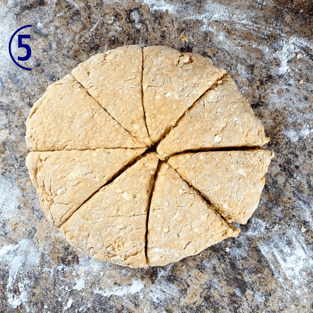Scone dough in a circle and cut in to 8 wedges.