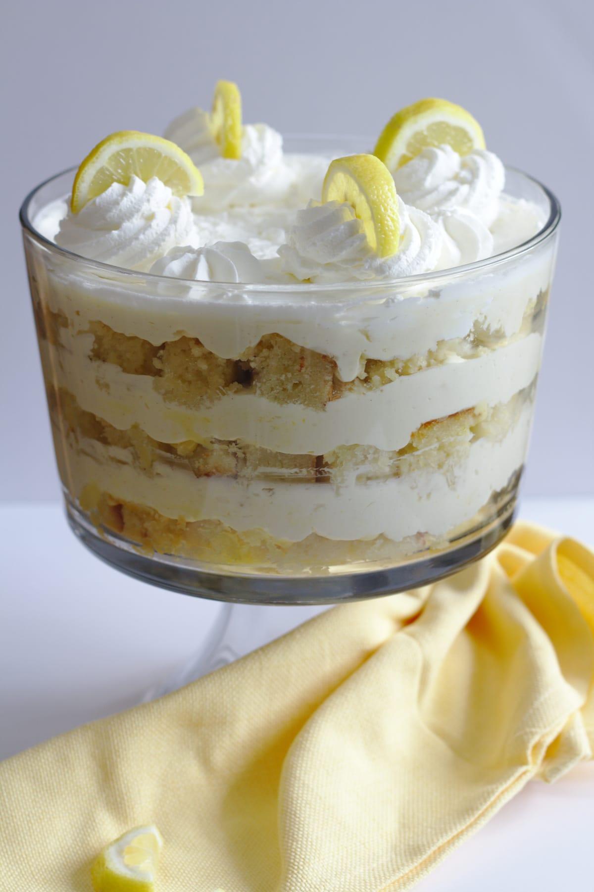 A trifle in a trifle dish.