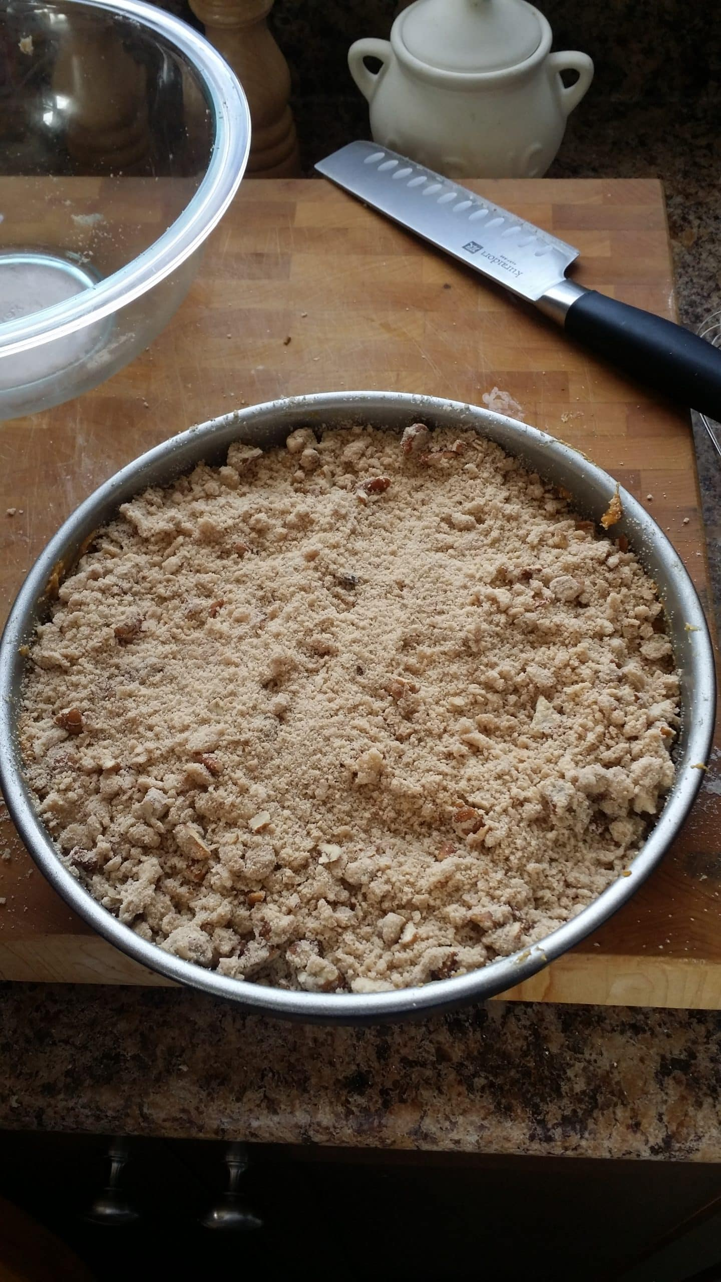 Streusel on top of batter.