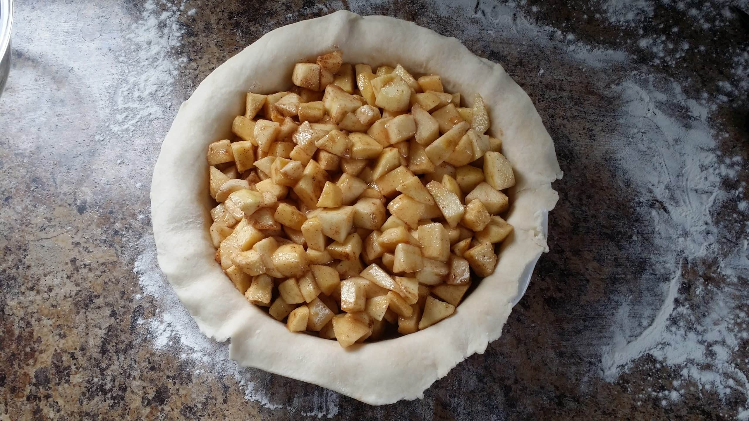Apple pie filling in a pie crust.