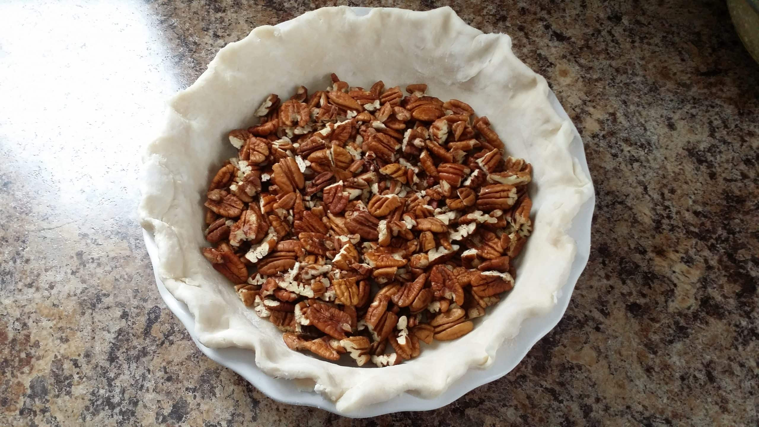 pecans in the bottom of the pie dish.