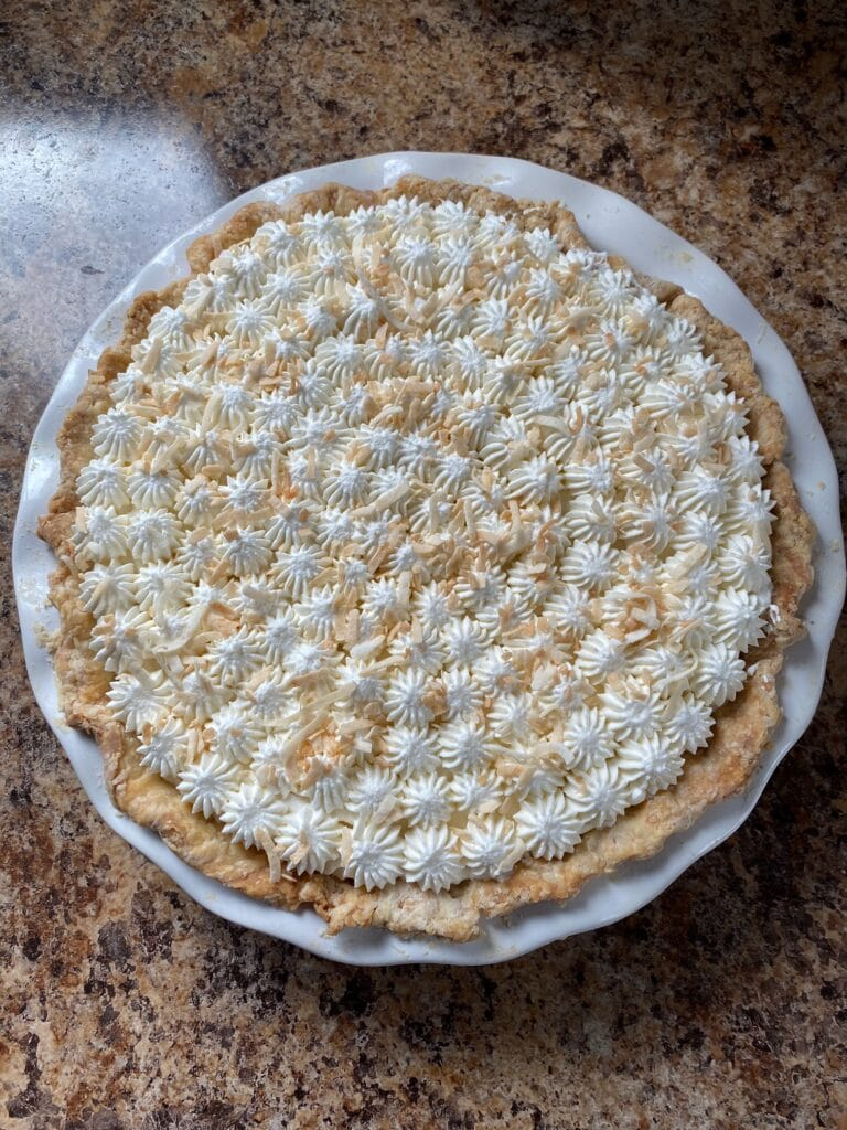 A decorated pie.