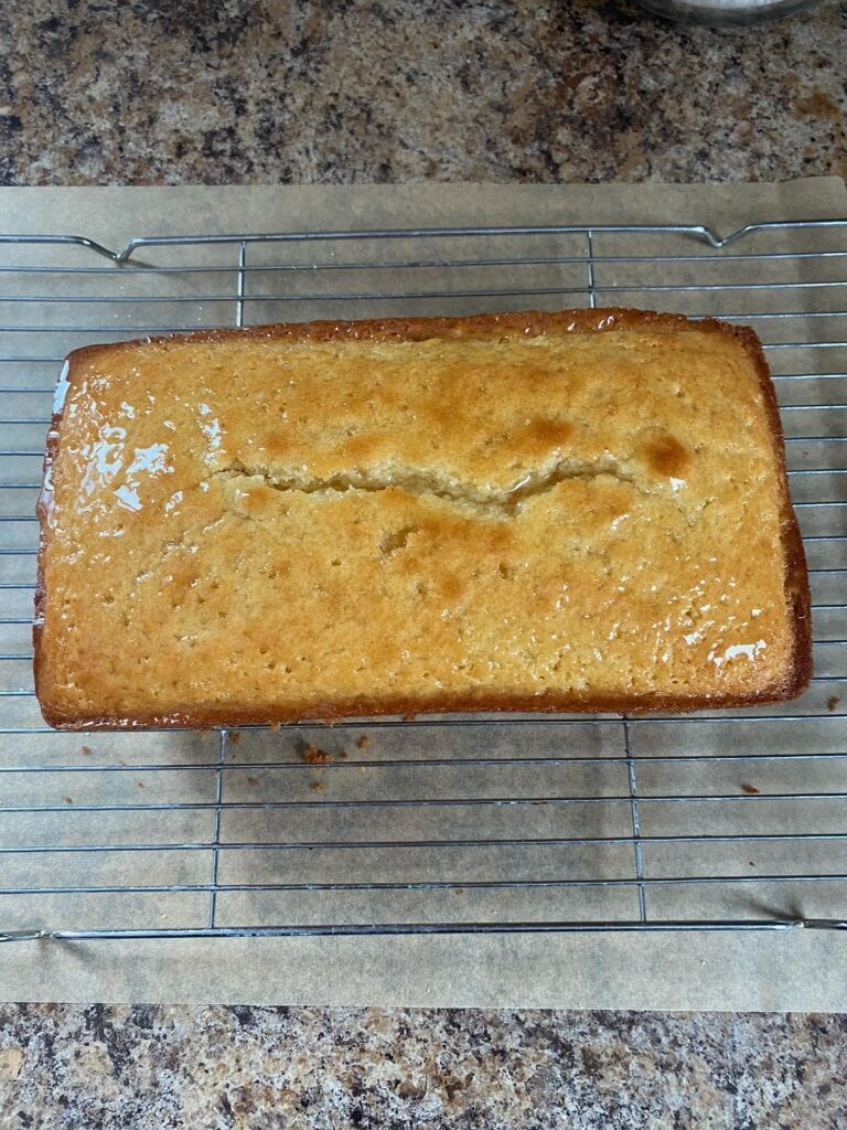 Lemon loaf with the syrup on it.