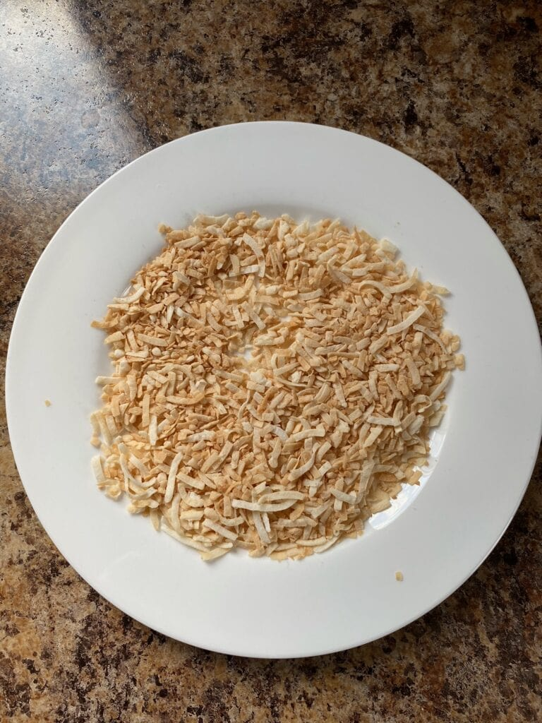 Toasted coconut flakes.