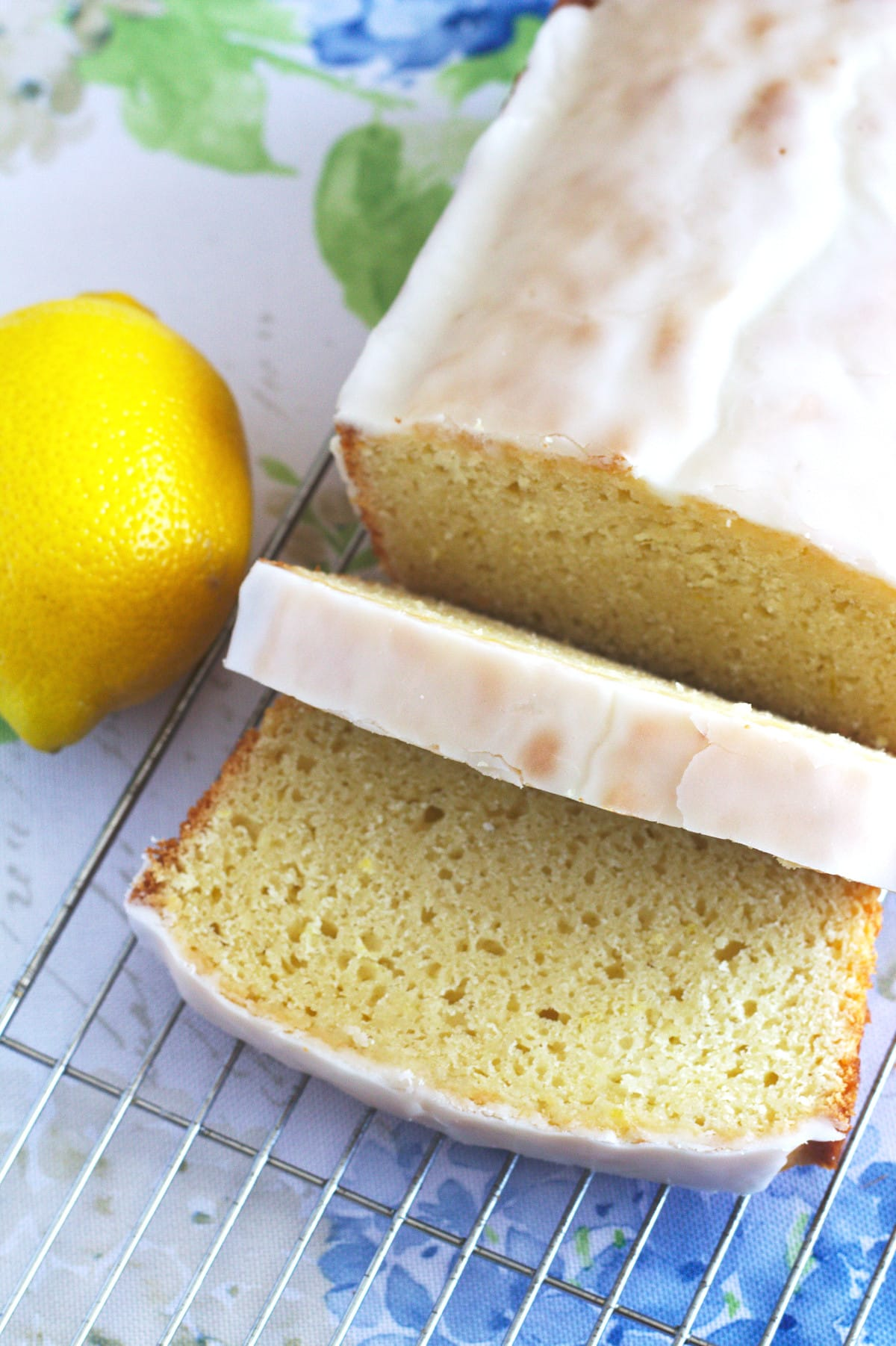 Slices cut out of a lemon loaf.