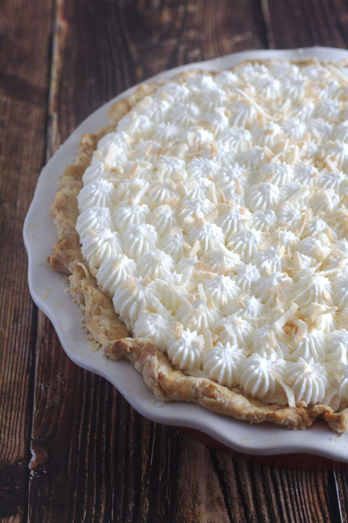 A partial view of a pie.