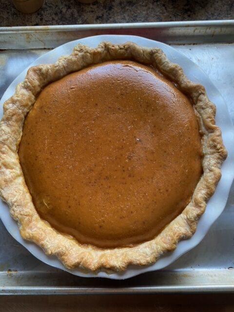 Baked pumpkin pie.