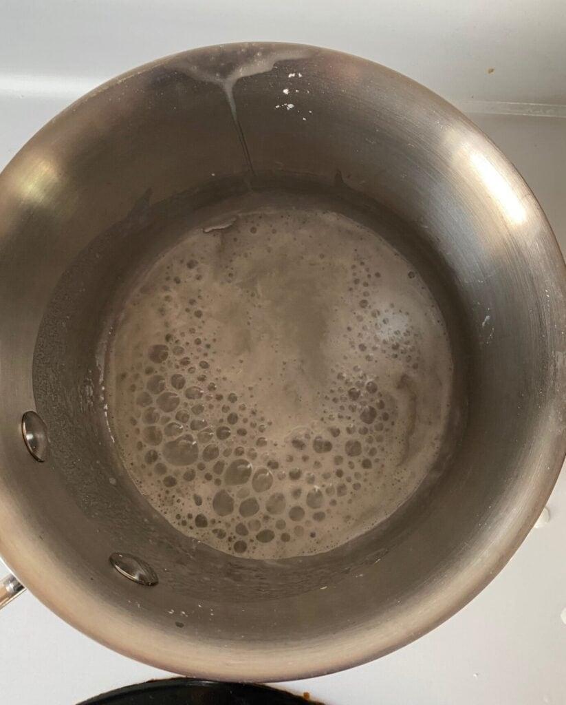 Sugar, water, and cornstarch in a small saucepan.